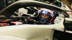 Test Pirelli Abu Dhabi 2018 - Pietro Fittipaldi nell'abitacolo della Haas