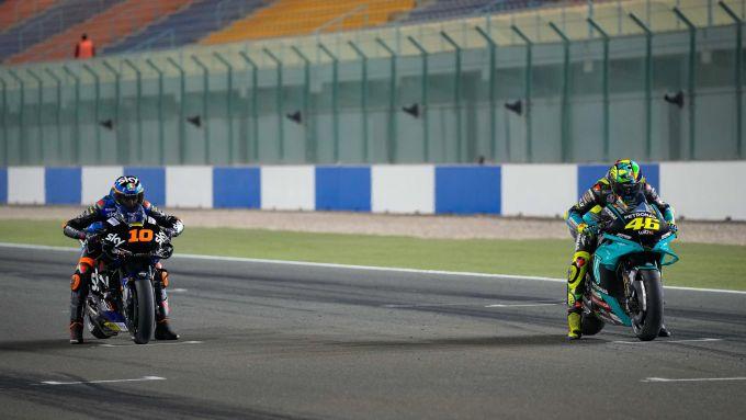 Test Qatar 2021, Luca Marini (Team VR46 Esponsorama Ducati), Valentino Rossi (Yamaha Petronas)
