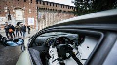 The Stig, misterioso pilota di Top Gear, a bordo di una Lamborghini al Castello Sforzesco di Milano