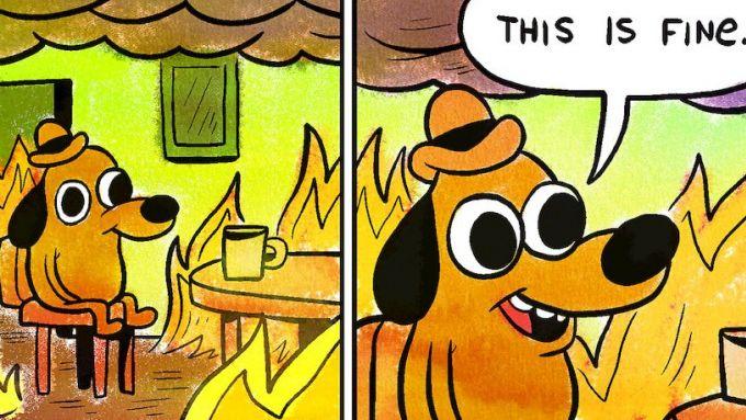 This is fine, il meme del cagnolino che sorride ignaro della devastazione attorno a sé