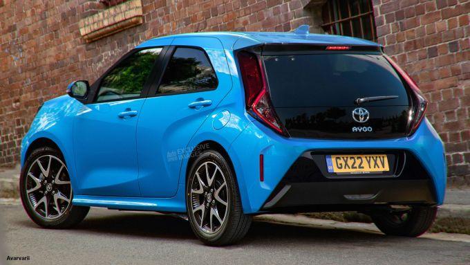 Toyota Aygo 2022: visuale di 3/4 posteriore