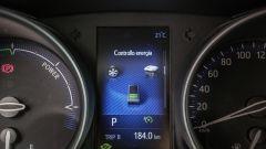 Toyota C-HR Hybrid: il display al centro del quadro strumenti con le indicazioni del sistema ibrido