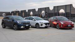 Toyota Prius, Hyundai Ioniq, Kia Niro: ibride a confronto