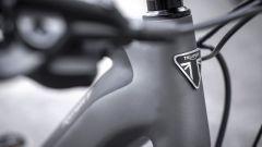 Triumph Trekker GT: lo scudetto sul piantone anteriore