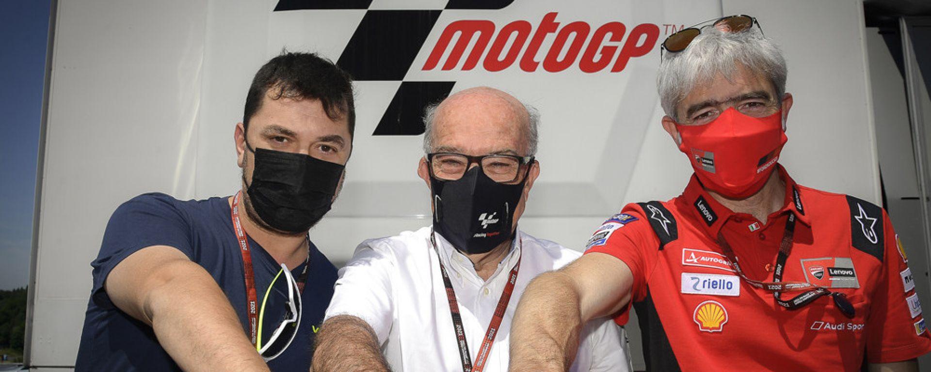 Uccio Salucci (Team VR46), Carmelo Ezpeleta (Dorna Sports), Gigi Dall'Igna (Ducati)
