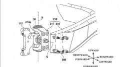Un dettaglio del mozzo anteriore sterzante brevettato da Kawasaki