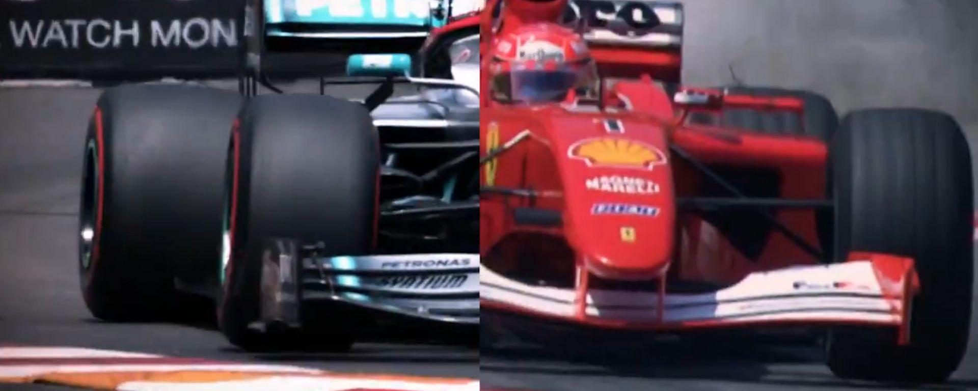 Un frammento del video con cui la Formula 1 accosta Lewis Hamilton a Michael Schumacher