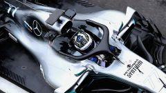 Una foto dall'alto di Bottas e della sua Mercedes W09.
