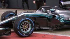 Una macro del frontale della Mercedes W09 F1 2018