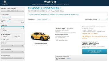 Una schermata del nuovo webstore Peugeot
