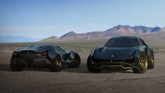 un'altra vista di un ipotetico SUV Ferrari Simoom accanto a una cupé