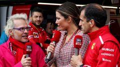 Uno dei post-gara di Sky Sport F1: Federica Masolin insieme a Jacques Villeneuve e Marc Gené