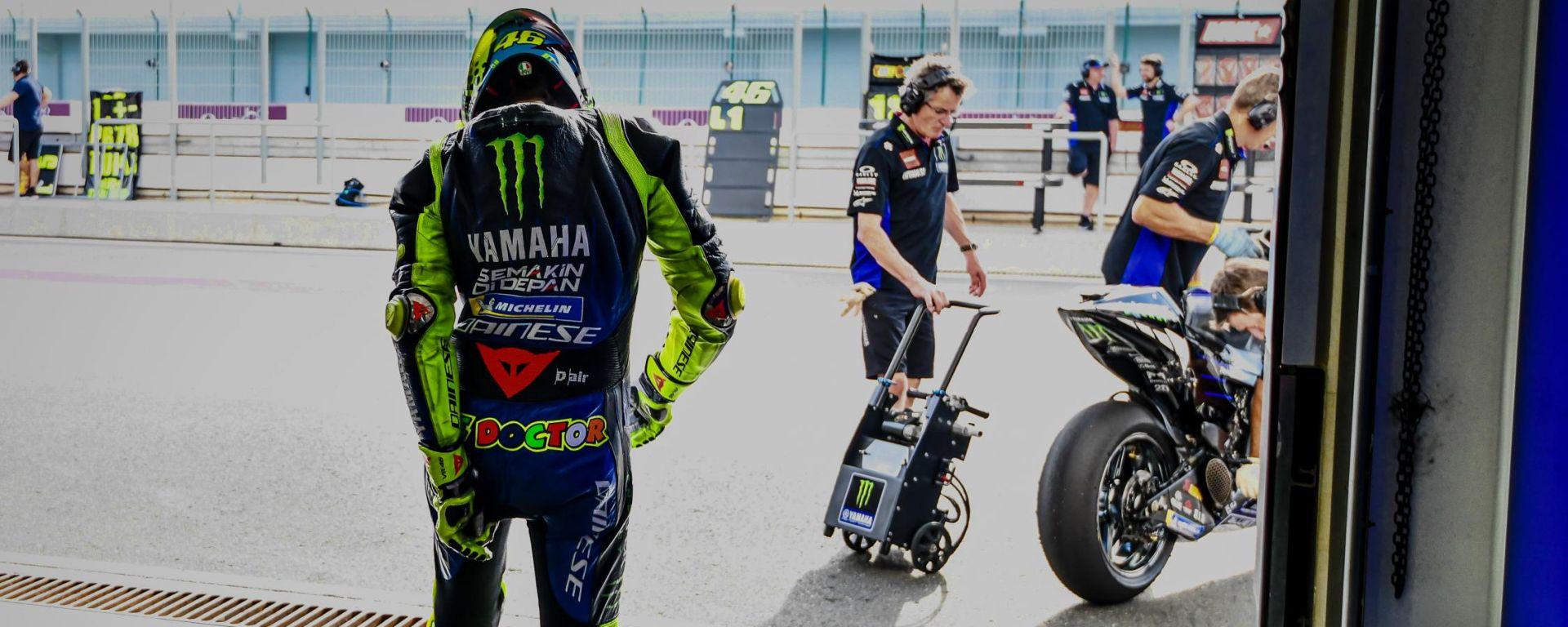 Valentino Rossi ai test di Losail 2020 con la Yamaha