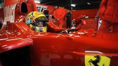 Valentino Rossi in Ferrari, nei test di Barcellona