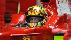 Valentino Rossi sulla Ferrari F2008
