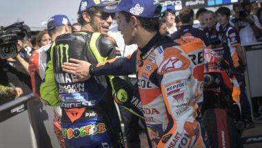 Valentino Rossi (Yamaha) e Marc Marquez (Honda) al British GP 2019