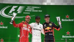 Vettel, Hamilton e Verstappen sul podio del GP di Cina 2017, F1