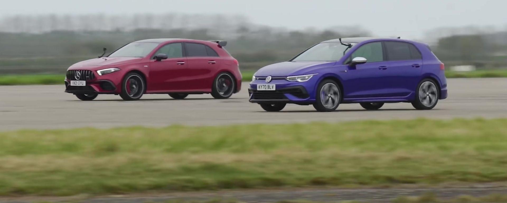 VW Golf R vs AMG A45 S, la madre di tutte le drag race. VIDEO