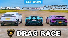 Video Youtube: drag race Lamborghini tra Urus, Huracan e Aventador