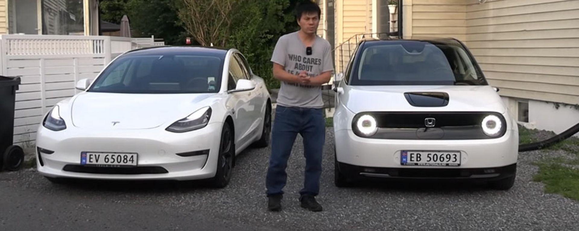 Video YouTube: ricaricare Tesla Model 3 con una Honda e