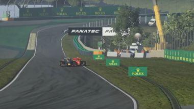 VirtualGP Interlagos: il sorpasso decisivo di Alexander Albon (Red Bull) su Charles Leclerc (Ferrari)