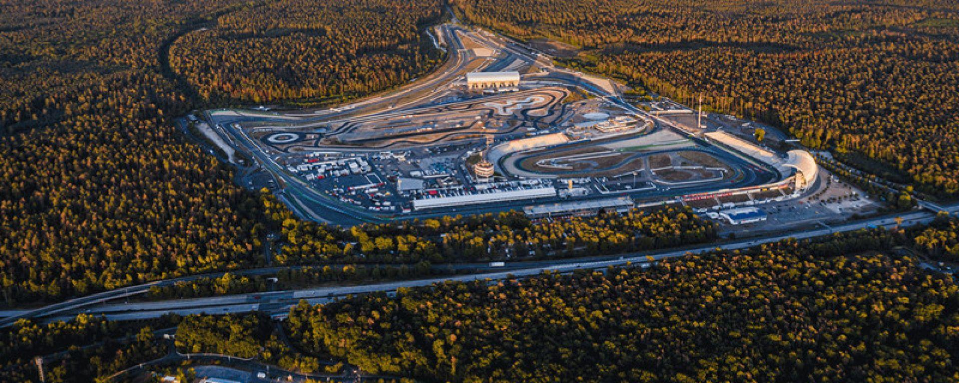 Vista aerea del circuito tedesco di Hockenheim