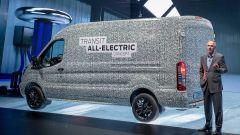 Vista laterale del concept di Ford Transit full-electric