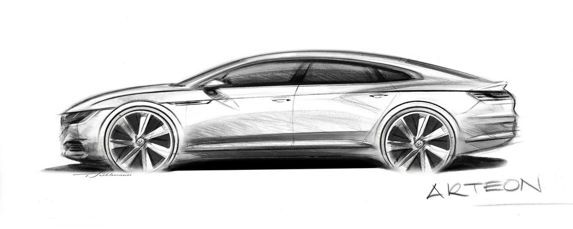 Volkswagen Arteon: il primo bozzetto della futura coupé 4 porte di Wolfsburg