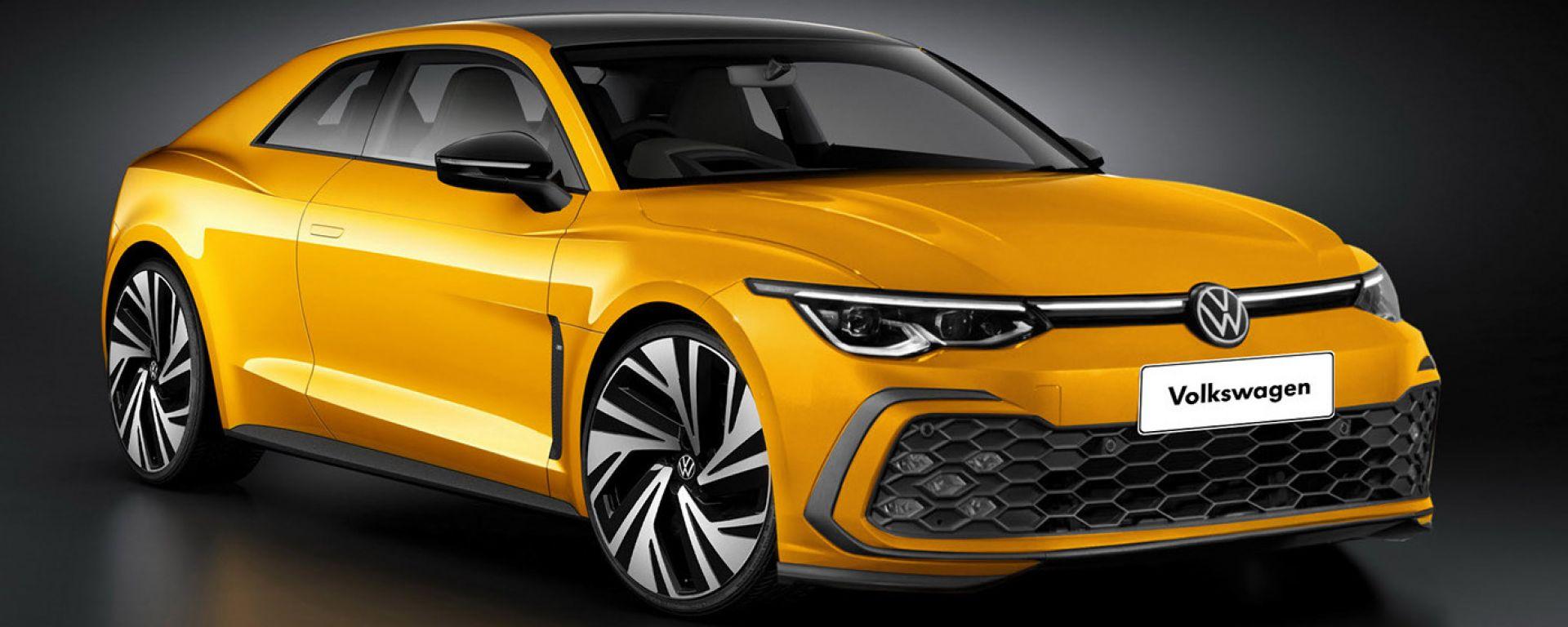 Volkswagen Corrado 2021: il render di 3/4 anteriore