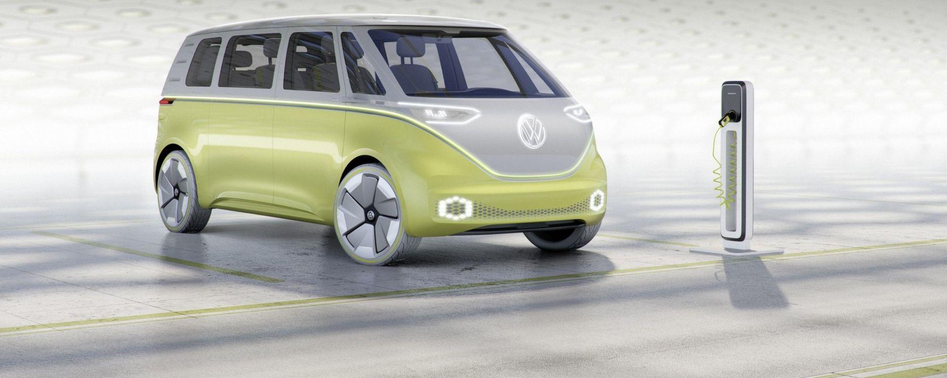 Volkswagen I.D. Buzz concept  è elettrica, pensata sia per la ricarica dalle colonnine sia wireless