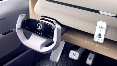 Volkswagen ID. Life, il volante a cloche che integra il cruscotto