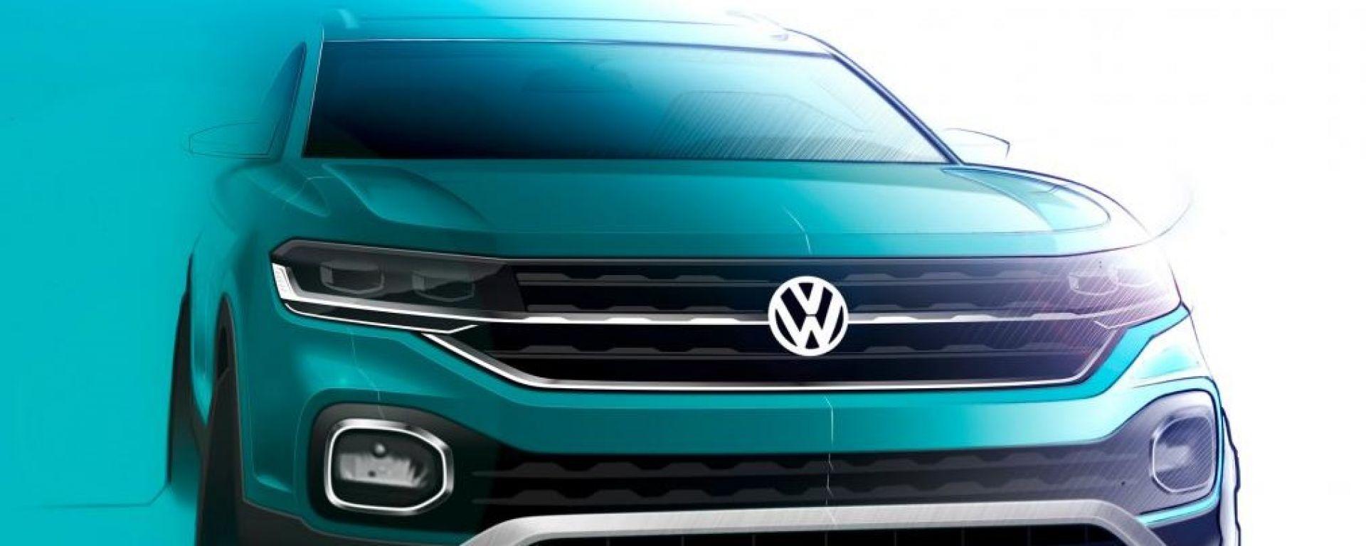 Volkswagen T-Cross: il bozzetto del frontale