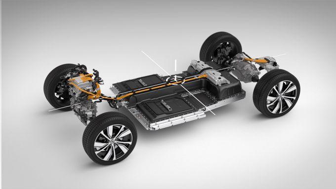 Volvo XC-40: il pacco batterie da 78 kWh