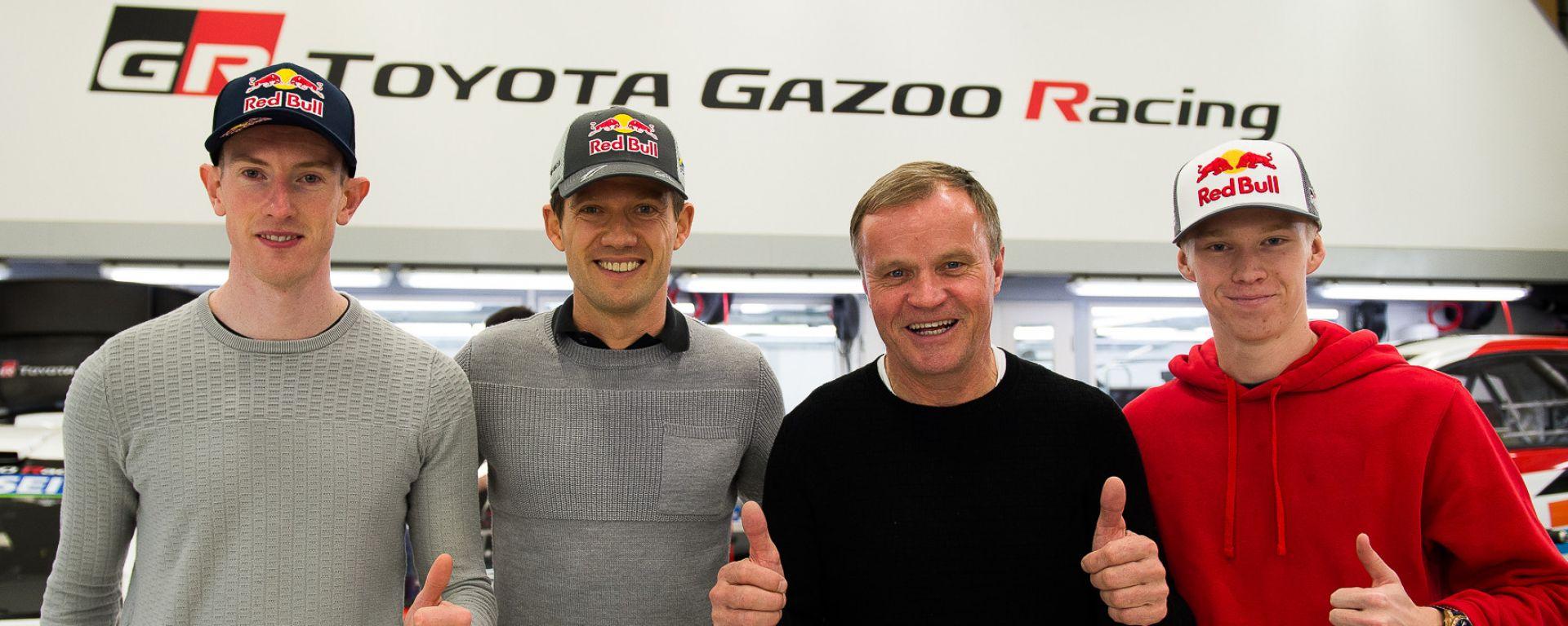 WRC, la line-up Toyota 2020: (da sinistra) Evans, Ogier, il team principal Makinen e Rovanpera