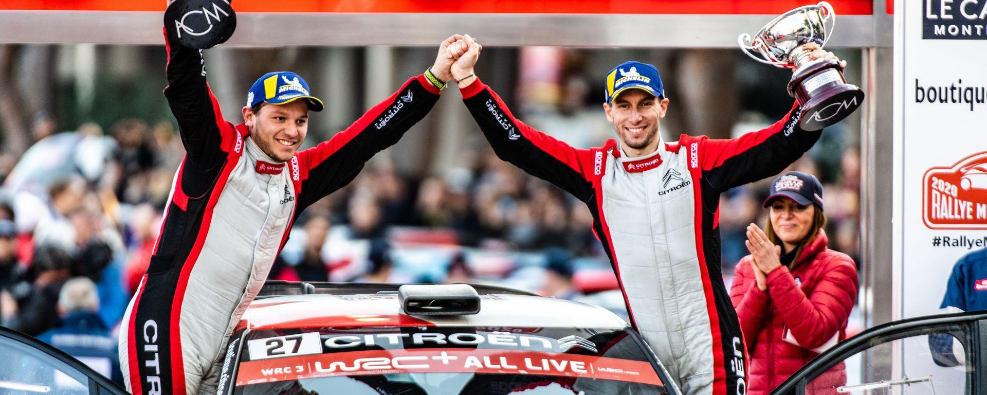 WRC, Rally Montecarlo 2020: Eric Camilli e il navigatore François-Xavier Buresi (Citroen) festeggiano la vittoria