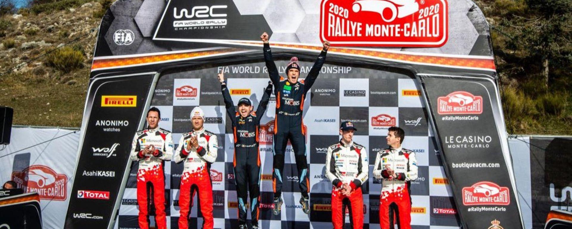 WRC, rally Montecarlo 2020: il podio della gara con Neuville, Ogier e Evans