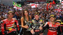 WSBK Portimao 2019, il podio della Superbike in Portogallo: da sinistra Razgatioglu, Rea e Bautista