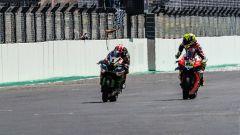 WSBK Portimao 2019, l'arrivo di gara-2 con Rea (Kawasaki) e Bautista (Ducati) divisi da un decimo