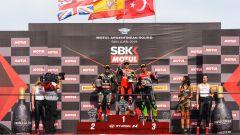 WSBK Round Argentina, podio gara-1: Bautista (Ducati), Rea (Kawasaki), Ratzgatlioglu (Kawasaki)