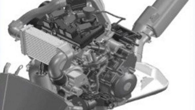 Yamaha MT-Turbo: in questa foto si vede chiaramente l'intercooler