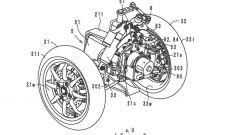 Yamaha Tmax a tre ruote: dettaglio del disegno del brevetto
