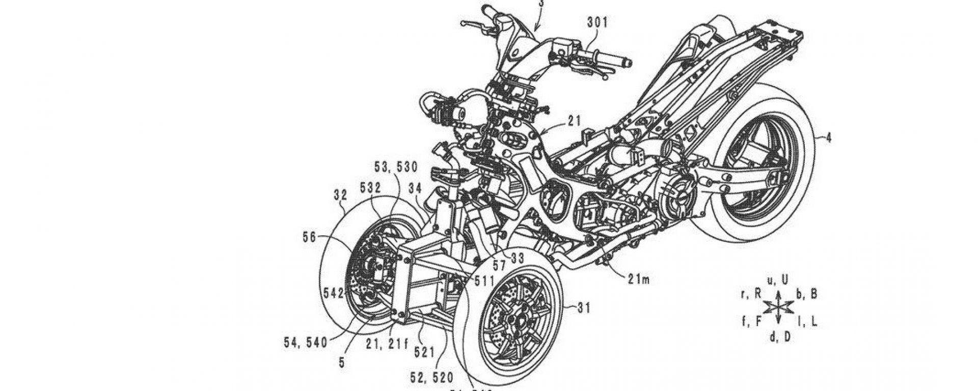 Yamaha Tmax  a tre ruote, il  disegno del brevetto depositato