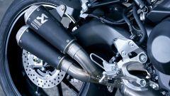Yamaha XSR900 Abarth: dettaglio dello scarico Akrapovic